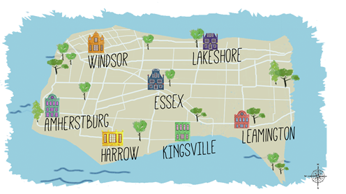 Hand-drawn map of Essex County Ontario showing the following municipalities: Windsor, Lakeshore, Amherstburg, Essex, Harrow, Kingsville and Leamington.