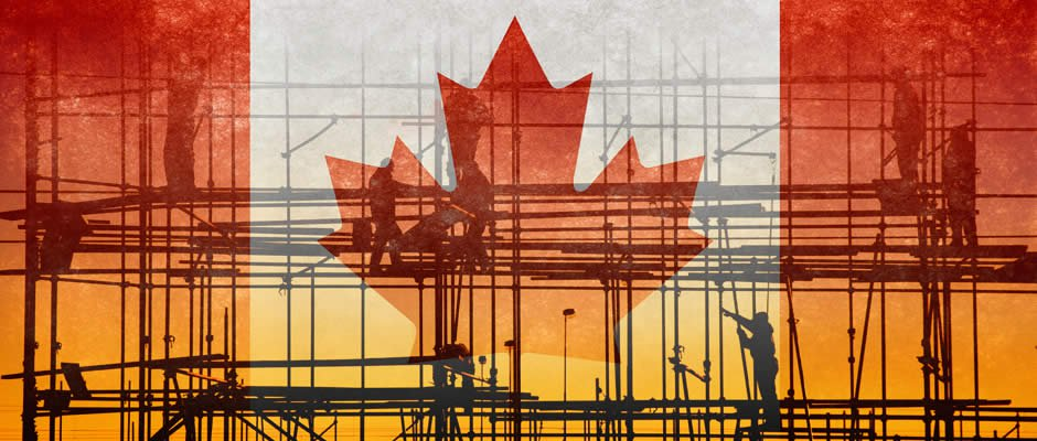 Workers on scaffolding building Canada flag on scaffolding