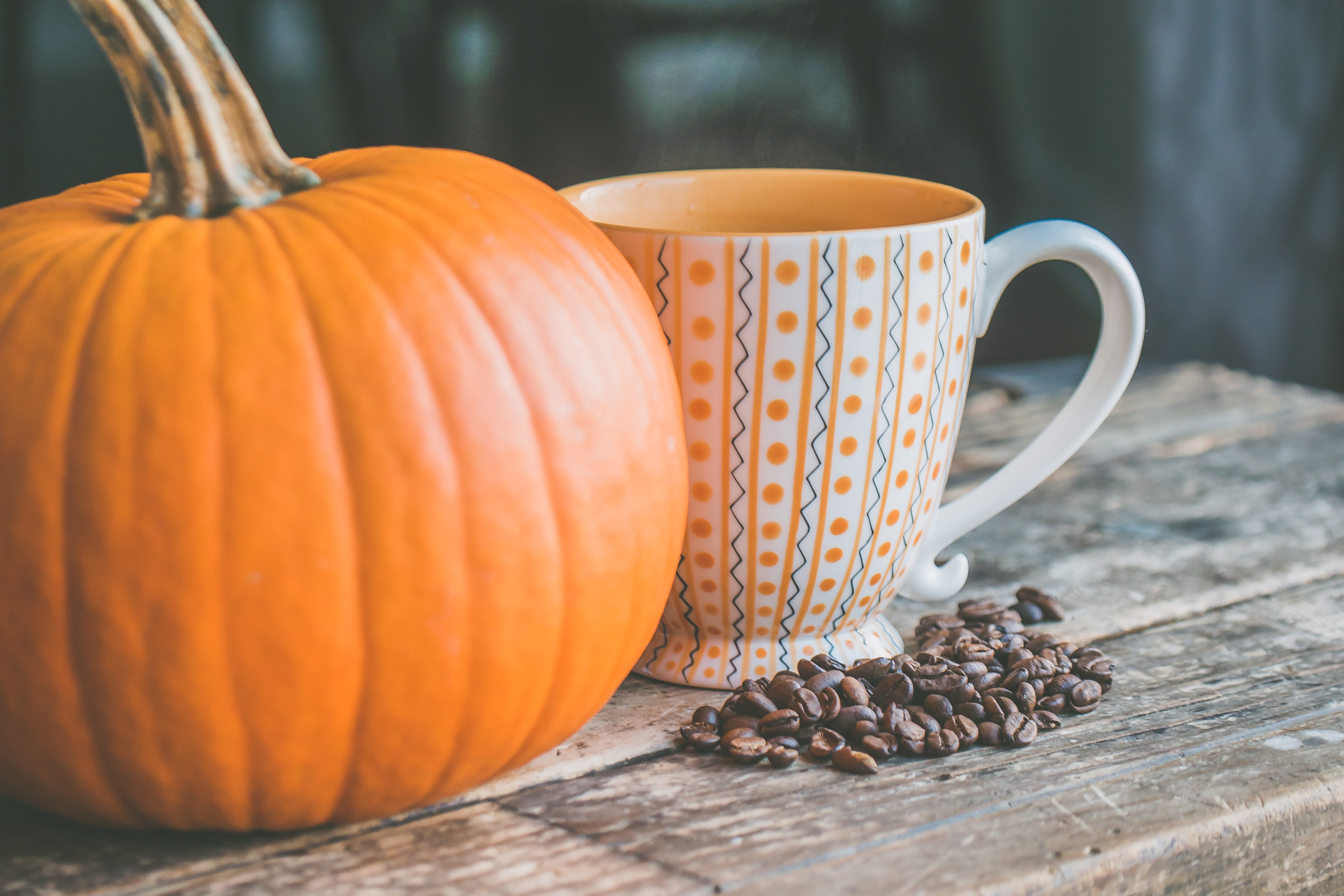 pumpkin-background-coffee beans-mug