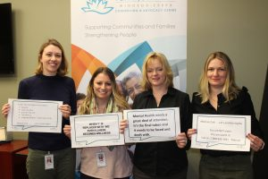 4 FSWE staff holding Bell Let's Talk Day 2019 signs