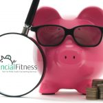 Financial Fitness Logo - Picture of Magnifying Glass, Pig with Sunglasses and Stacks of Coins