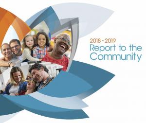 La première page du rapport 2018-2019 présenté à la communauté comprenant une compilation d'images de personnes et de familles multiraciales intégrées dans un lotus multicolore.