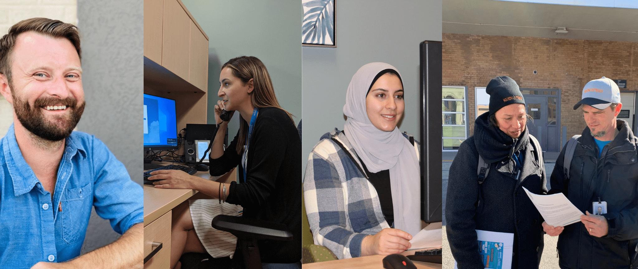 Une compilation d'images des membres du personnel SFWE effectuant diverses tâches de travail.