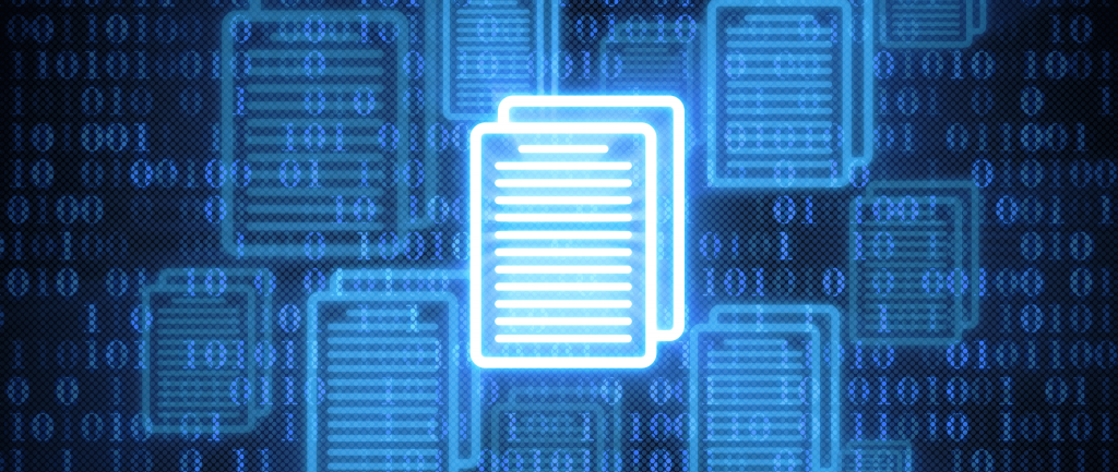A computerized rendition of an electronic file with ones and zeros in the background