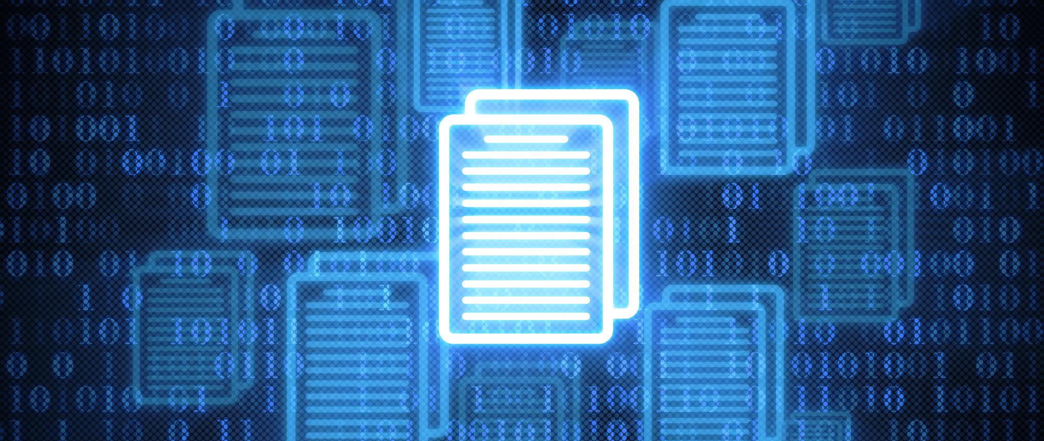 Une interprétation graphique d'un fichier électronique avec les chiffres 1 et 0 à l'arrière-plan